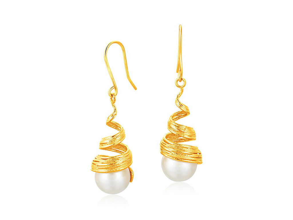 Cultured Pearl Spiral Earrings 14k Yellow Gold