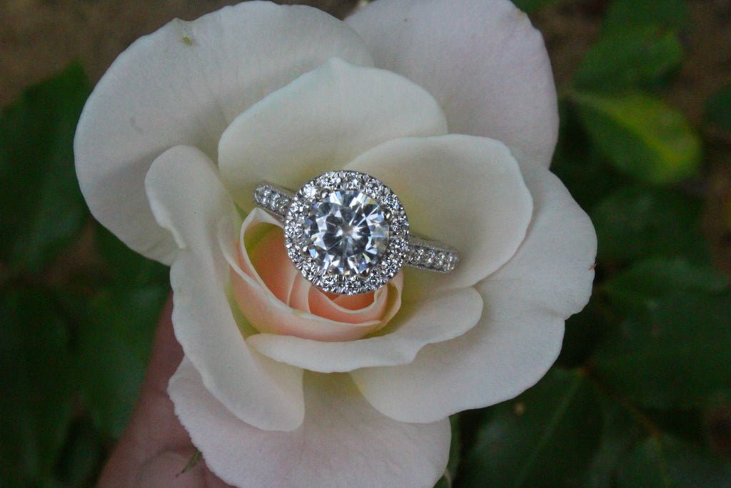 1.50 Carat Forever One Moissanite & Diamond Halo Vintage Style Engagement Ring