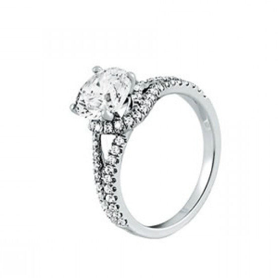 Forever One Moissanite & Diamond Split Shank Ring