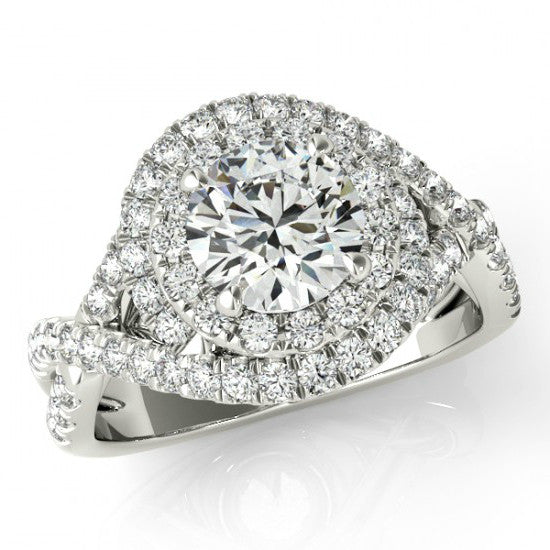 Forever One Moissanite & Diamond Swirl Engagement Ring