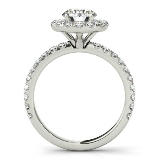 1 Carat FOREVER ONE Moissanite & Diamond Halo Engagement Ring