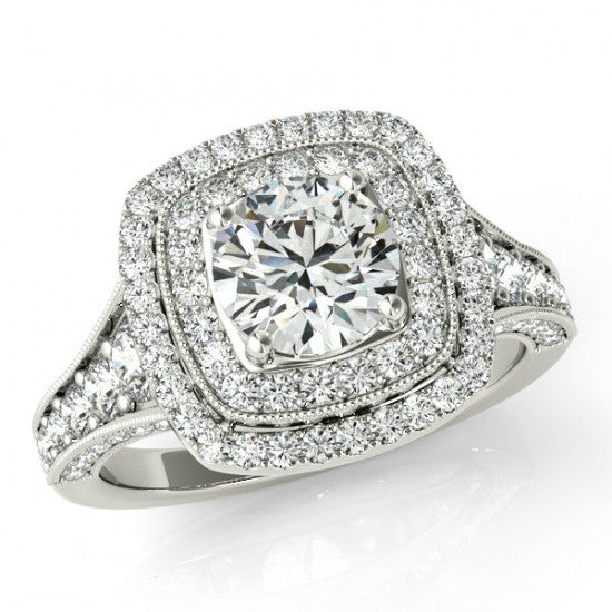 Forever One Moissanite & Double Diamond Halo Vintage-Inspired Engagement Ring