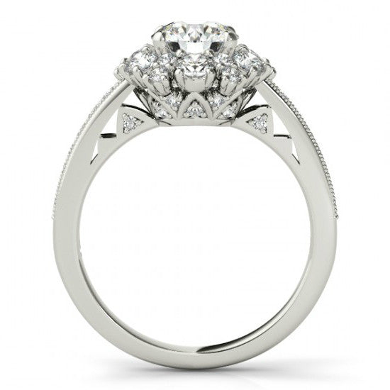 1 Carat Forever One Moissanite & Diamond Flower Engagement Ring