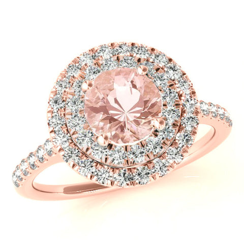 Morganite & Diamond Double Halo Engagement Ring