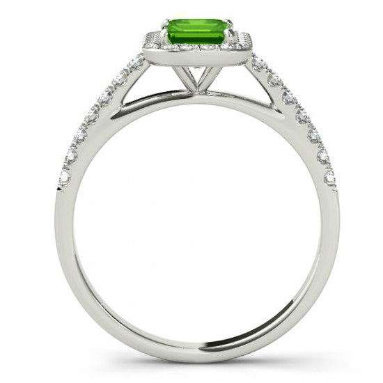 Emerald Peridot & Diamond Halo Ring