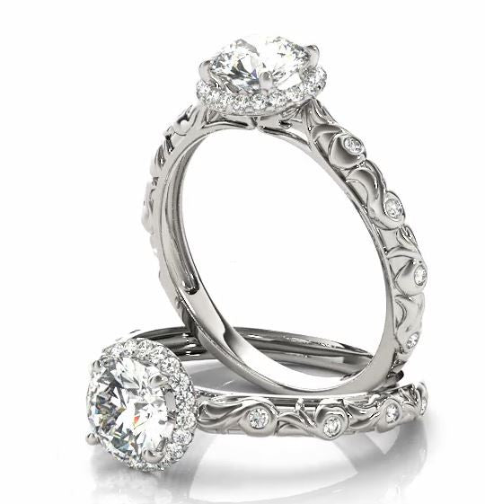GIA 0.75 ct Diamond & Halo Engagement Ring