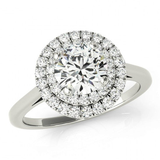 Forever One Moissanite & Diamond Double Halo Ring