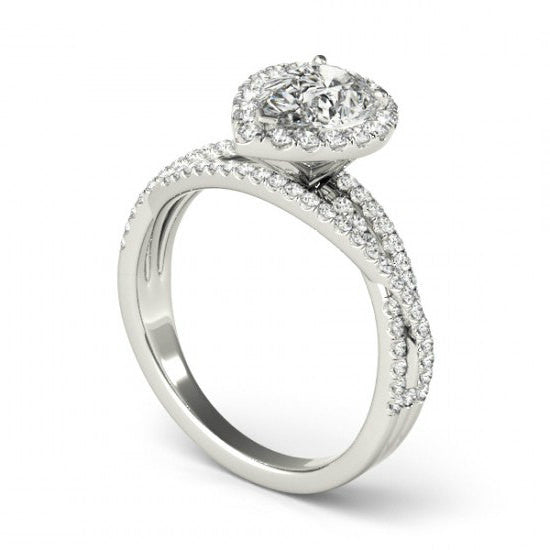 2.40 Carat Pear-Cut Forever Brilliant Moissanite & Diamond Halo Ring