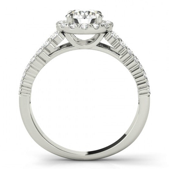 6mm Forever One Moissanite & Diamond Three Row Engagement Ring