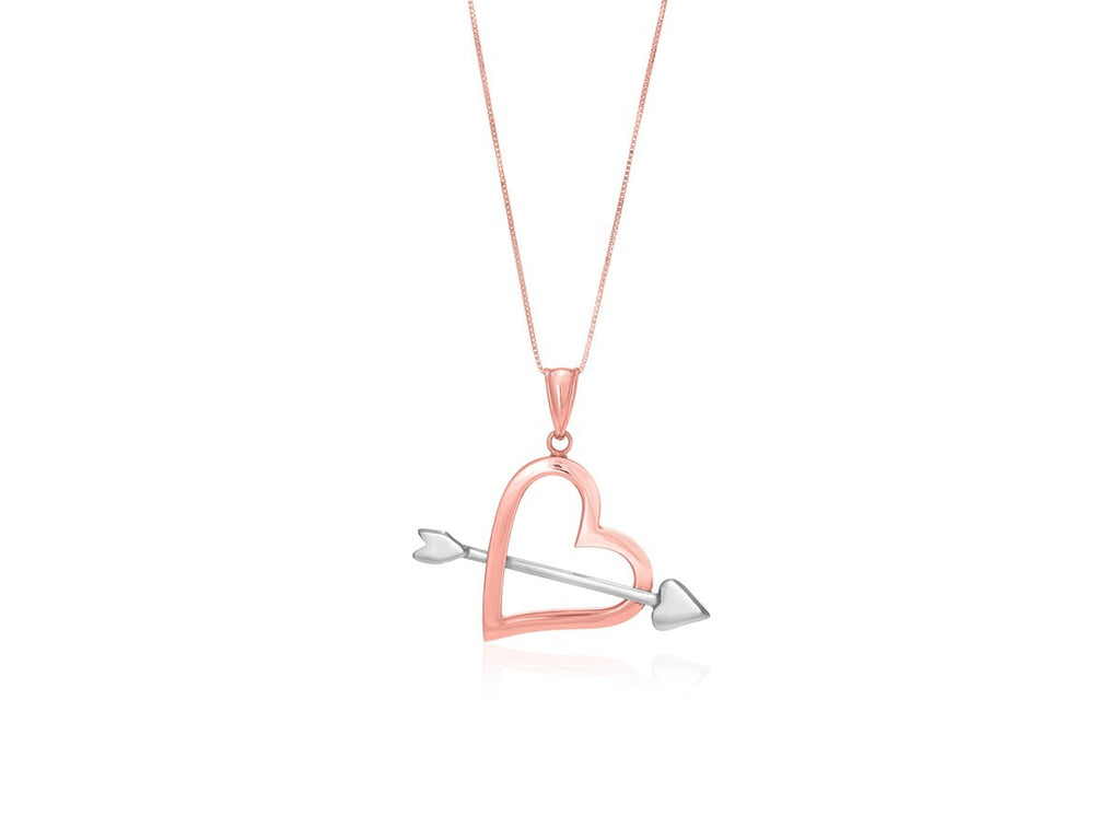 Heart and Arrow Pendant in 14k Rose and White Gold