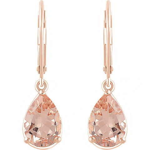8 Carat tw. Pear Morganite Dangle Earrings 14k Rose Gold