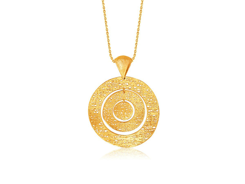 Freeform Weave Circle Pendantv14k Yellow Gold