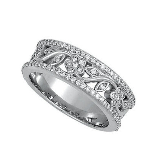 Floral Diamond Anniversary Band