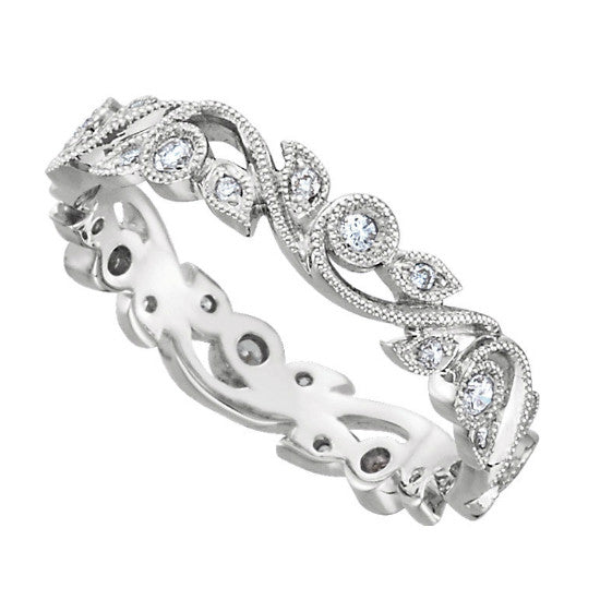 14k White Gold Diamond Vine Eternity Band