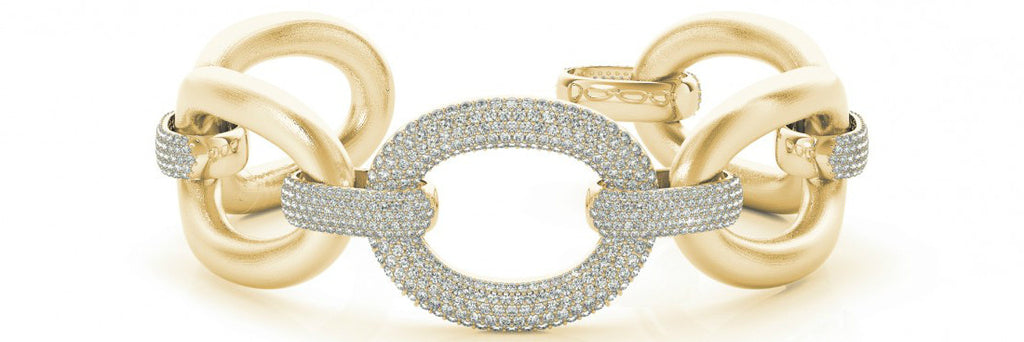 5.25 Carat tw. Diamond Pave Large Link Bracelet 14k Yellow Gold