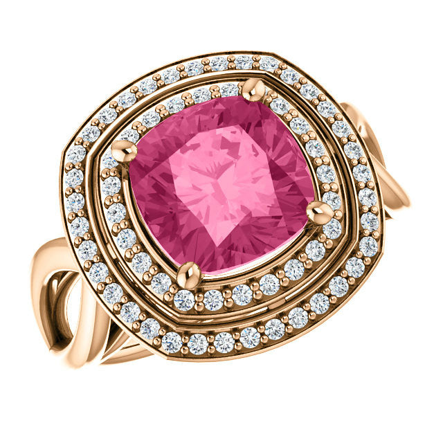 8mm Pink Tourmaline & Diamond Halo Ring