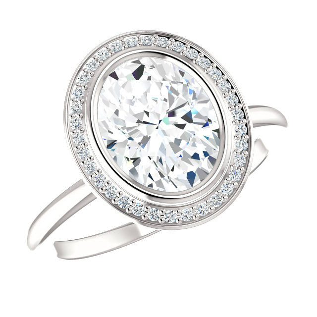 2.25 Carat Oval Forever One Moissanite & Diamond Halo Ring