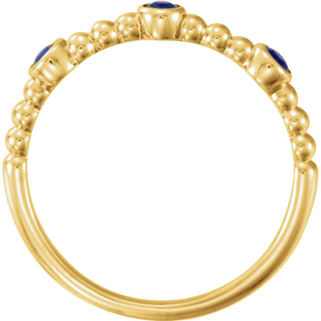 Blue Sapphire Beaded Ring 14k Yellow Gold