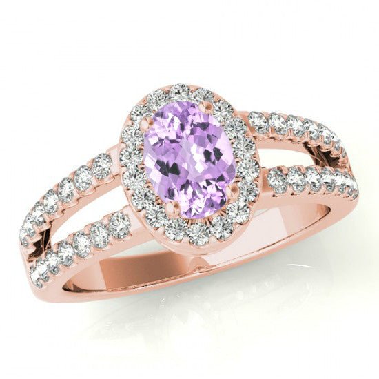10x8mm Oval Pink Amethyst & Diamond Split Shank Ring