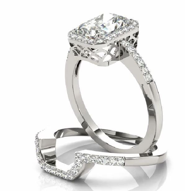 1.50 carat Forever Brillaint Moissanite & Diamond Engagement Ring