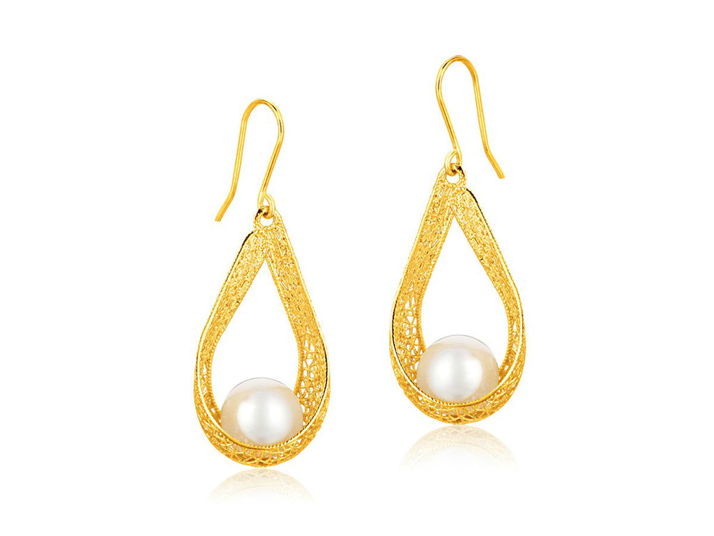 Cultured Pearl Teardrop Ribbon Earrings 14k Yellow Gold