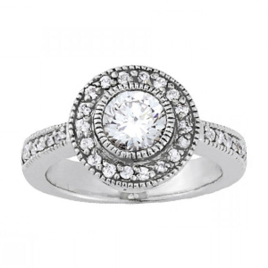 Vintage Style Forever One Moissanite & Diamond Halo Ring