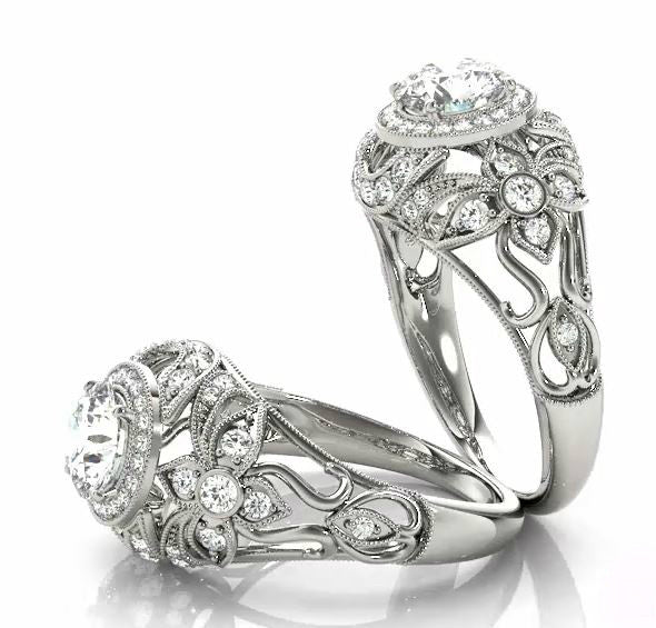 Vintage-Style Forever One Moissanite & Diamond Ring