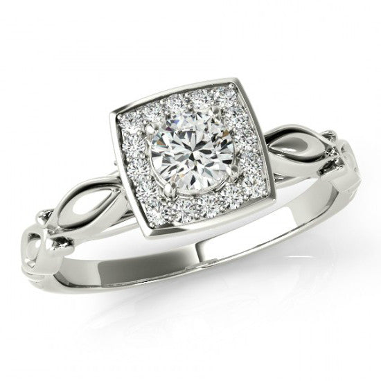 0.51 ct Diamond Carved Engagement Ring