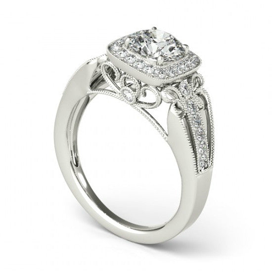 Forever One Moissanite & Diamond Vintage Inspired Ring