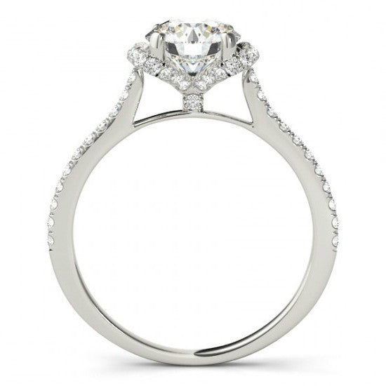 1 1/3 ct Diamond Ribbon Engagement Ring 14k White Gold