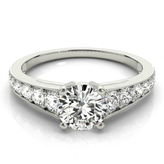 6.5mm Forever One Moissanite & Diamond Engagement Ring