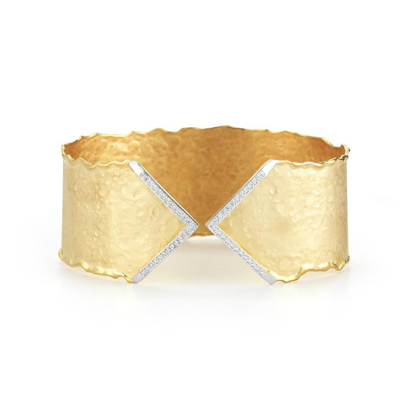 14k Yellow Gold Matte & Hammered Finish Diamond Cuff