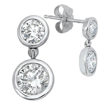 3 Carat Forever One Moissanite Bezel Drop Earrings