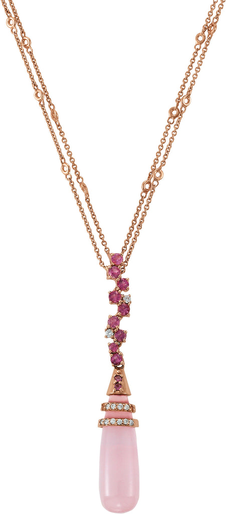 Rose Quartz, Pink Tourmaline & Diamond Necklace