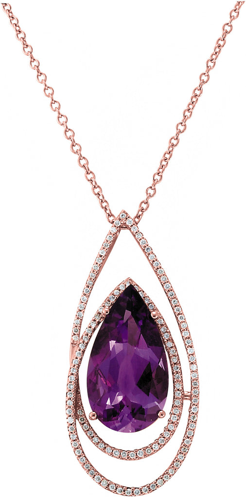 Amethyst & Diamond Rose Gold Pendant
