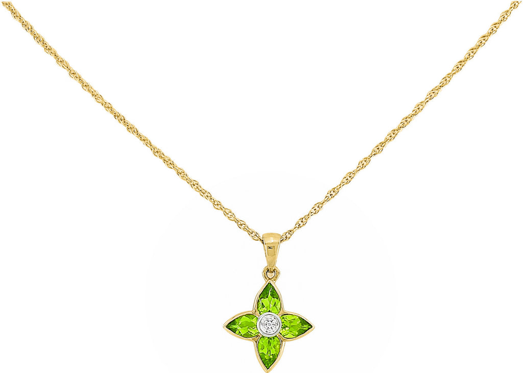 Peridot & Diamond Flower Necklace