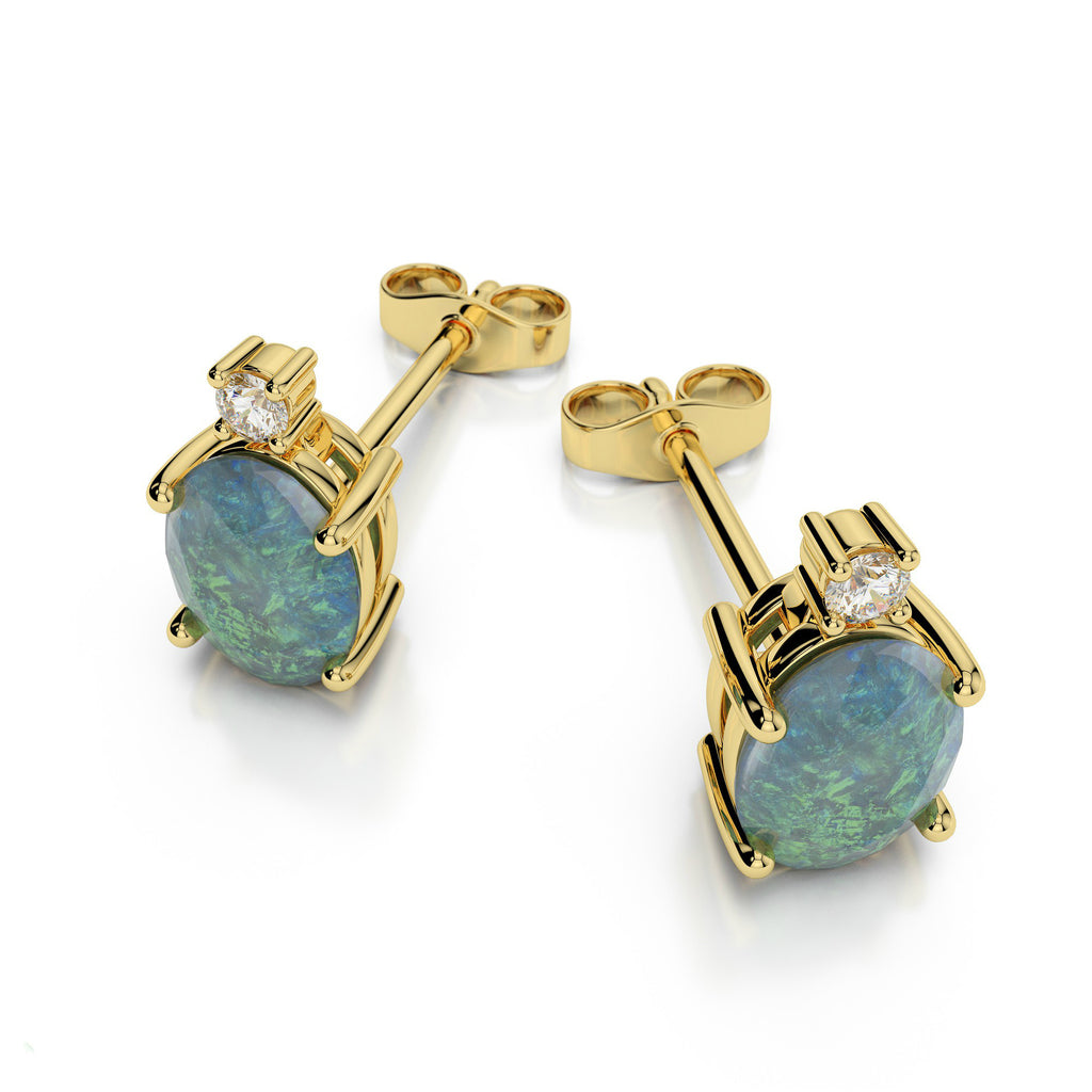 6x4mm Opal & Diamond Stud Earrings