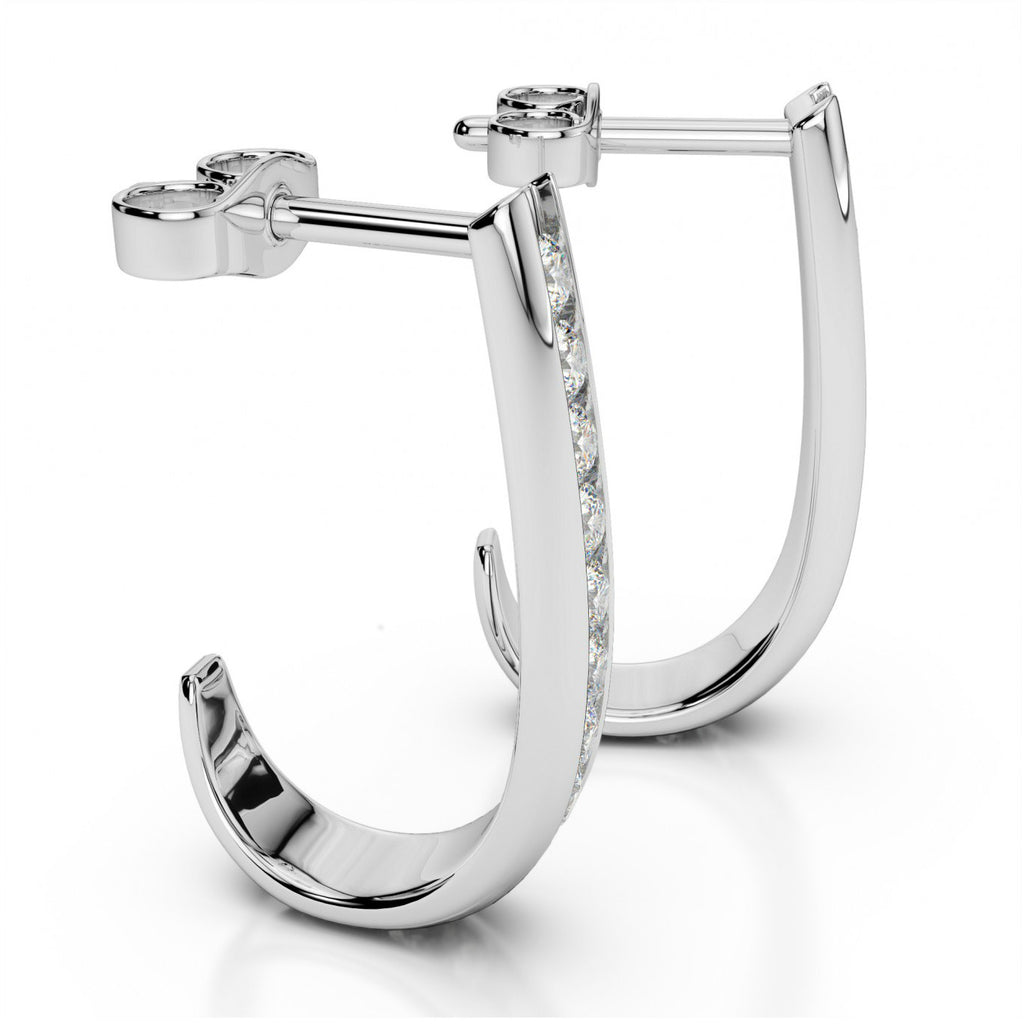 0.25 ct tw. Diamond J Hoop Earrings