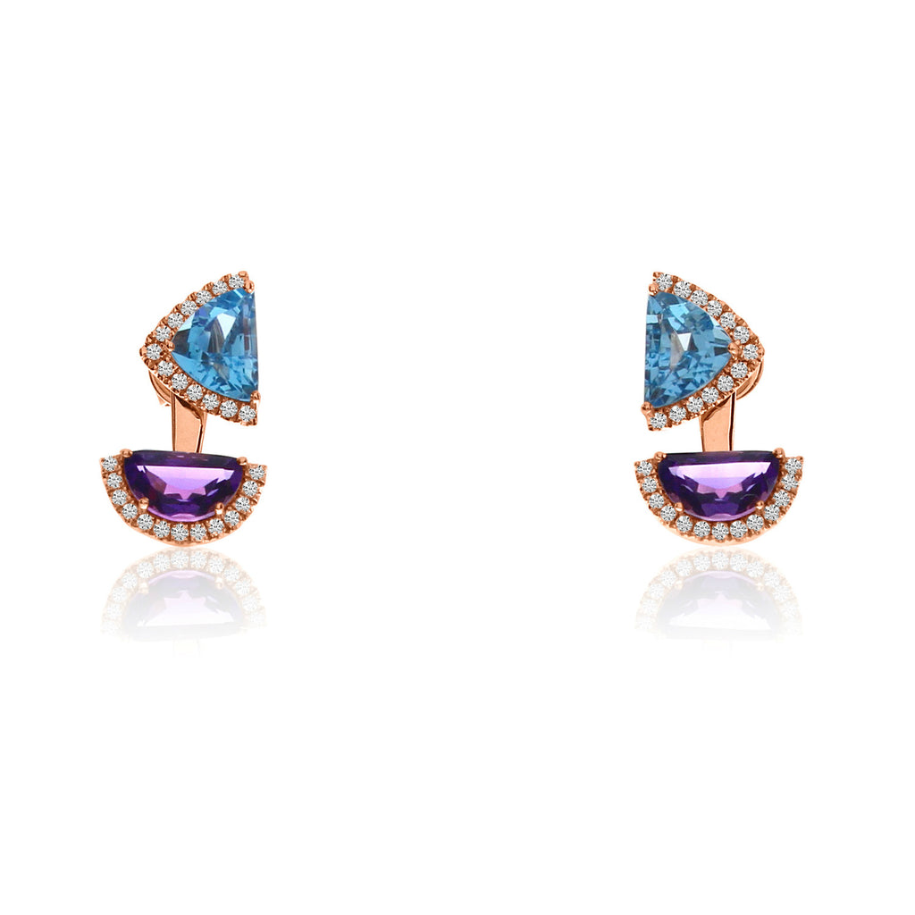 Half Moon Amethyst and Trillion Blue Topaz Earrings