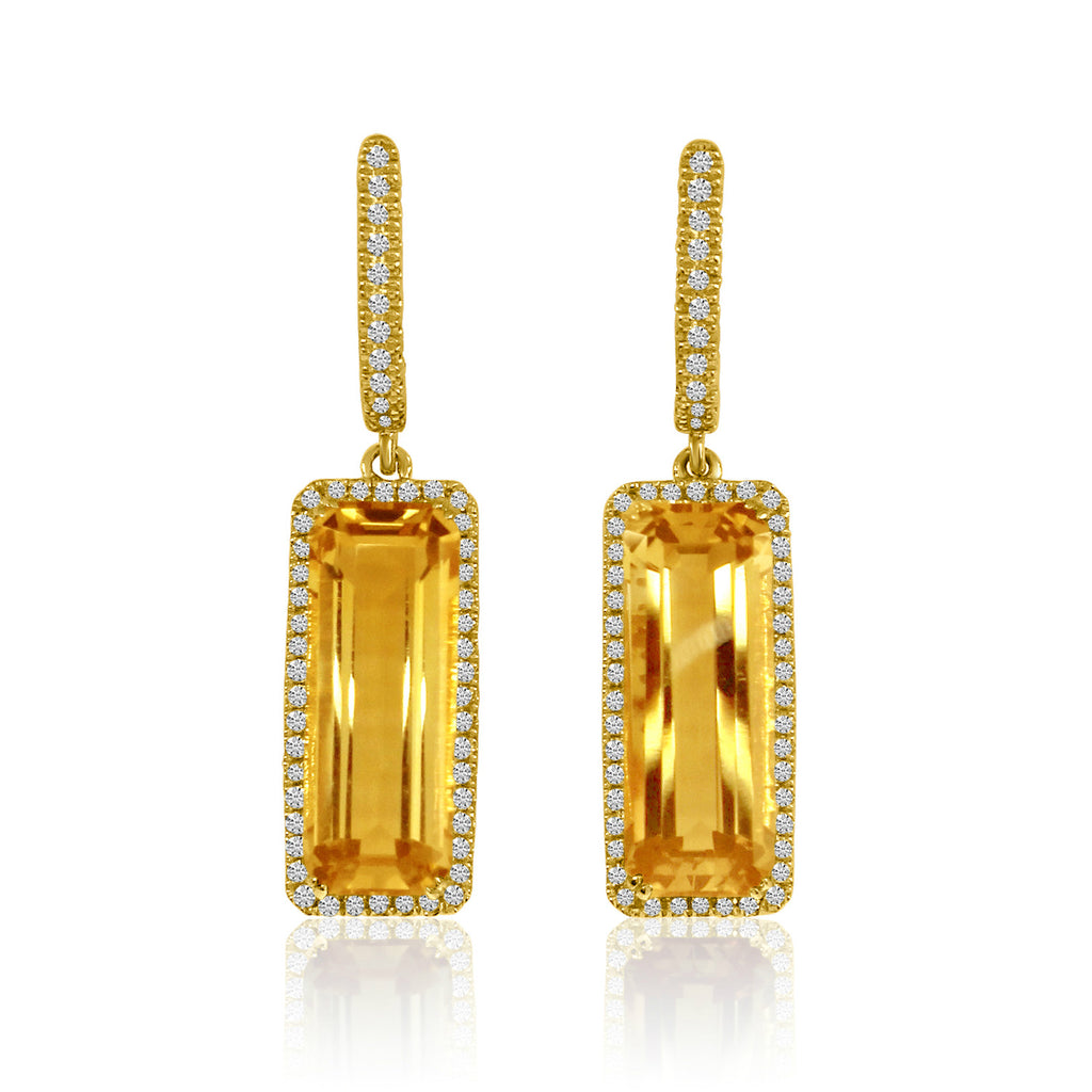 15x6 Long Octagon Citrine and Diamond Dangle Earrings