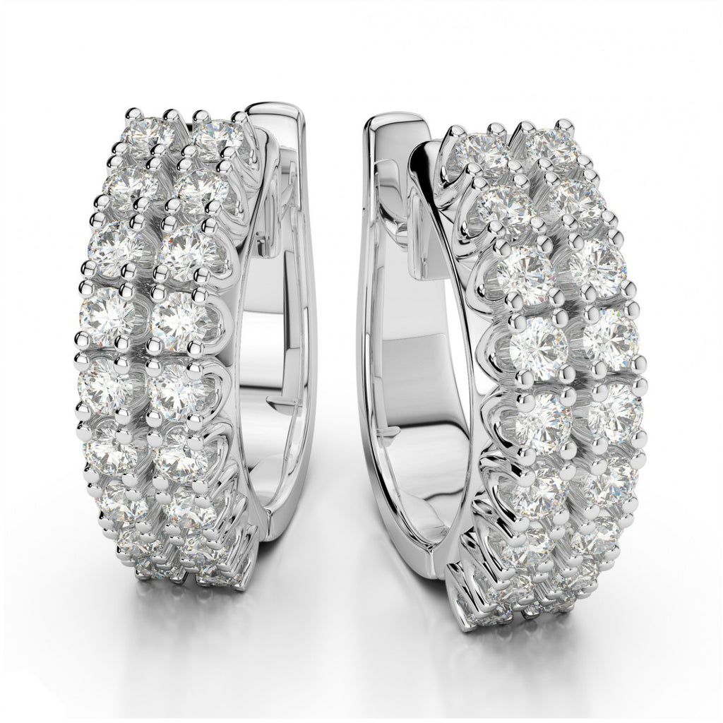 0.50 ctw Two Row Diamond Hoop Earrings