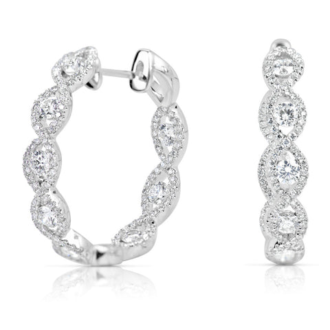 Diamond Braided Hoop Earrings 2.00 ctw