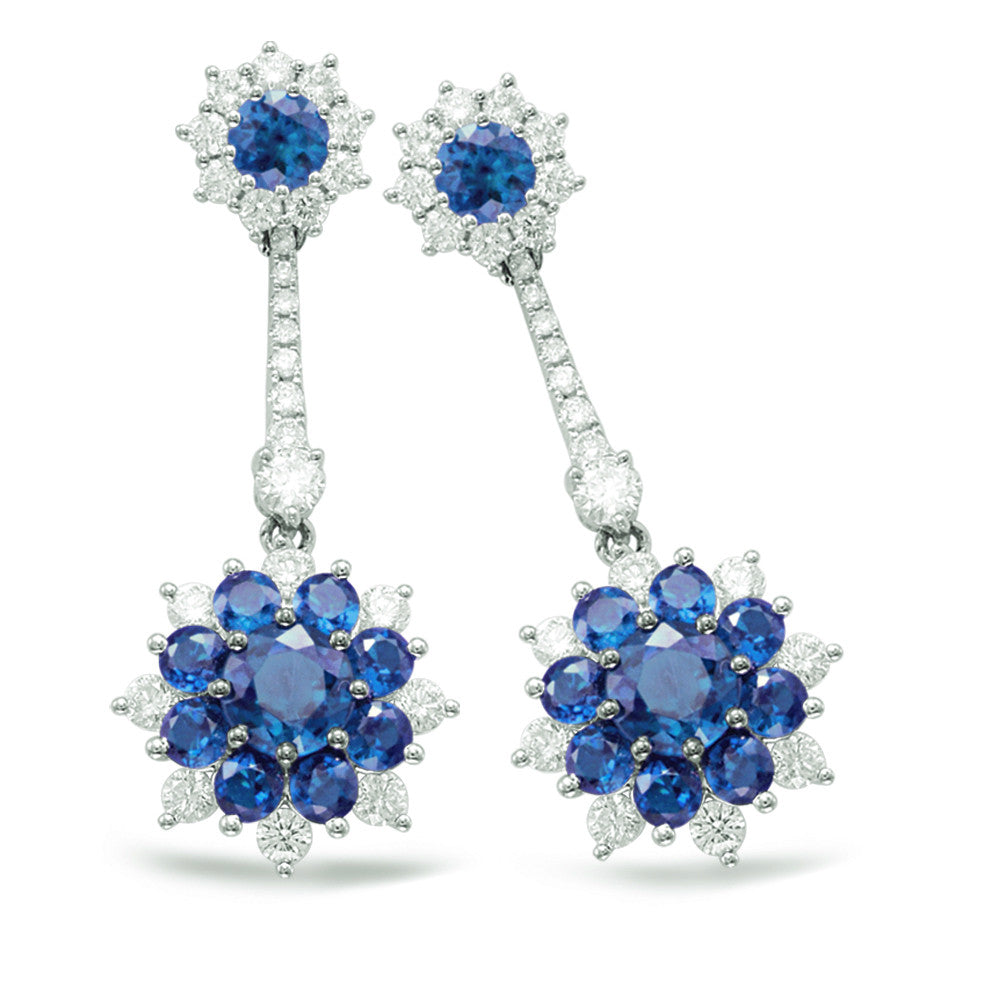 Sapphire & Diamond Flower Earrings