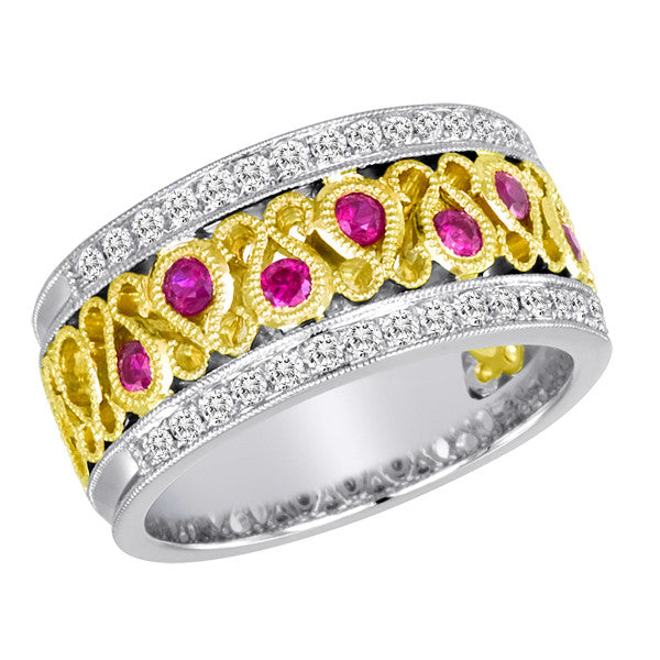 Vintage Style Ruby & Diamond Band