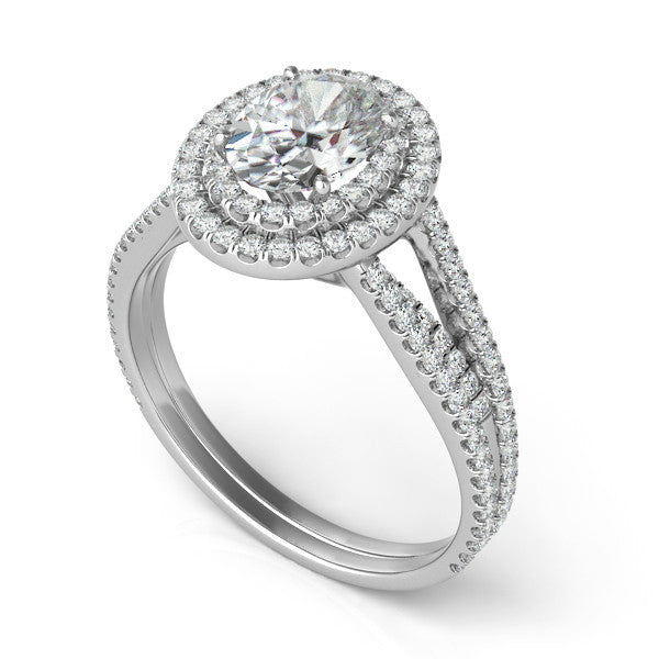 Oval Forever One Moissanite & Diamond Engagement Ring