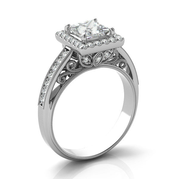 Square Brilliant Forever One Moissanite & Diamond Vintage Ring
