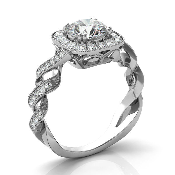 Forever One Moissanite & Diamond Swirl Ring