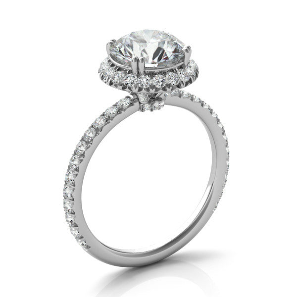 Forever One Moissanite & Diamond Halo Ring