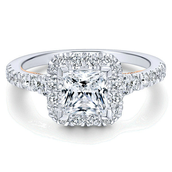 1.67 ctw Princess Diamond 18k Two Tone Engagement Ring