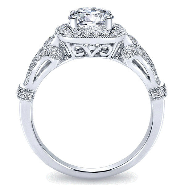 1.42 ctw Diamond & Halo Vintage Style Engagement Ring